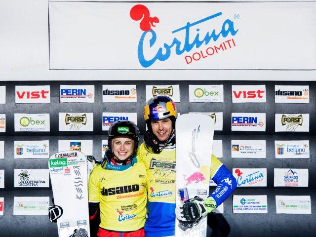 FIS Snowboard World Cup - Cortina d'Ampezzo ITA - PSL -      SCHOEFFMANN Sabine AUT and FISCHNALLER Roland ITA © Miha Matavz